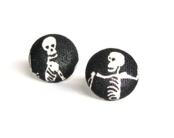 Halloween jewelry - skeleton stud earrings - skull fabric earrings - black button earrings - scary horror earrings - danse macabre goth gift