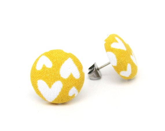 Mustard yellow stud earrings - tiny heart earrings fabric button jewelry - bright funky - birthday gift - present for her - anniversary gift