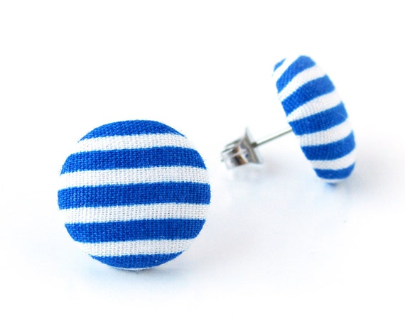 Nautical blue white striped stud earrings - dark blue button earrings - navy blue fabric earrings - minimalist marine blue jewelry
