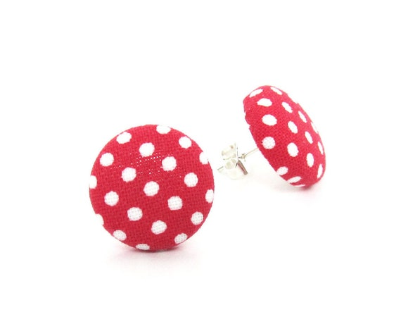 Red white polka dot stud earrings - fabric button earrings - pin up jewelry rockabilly retro vintage 1950s - tiny white dots