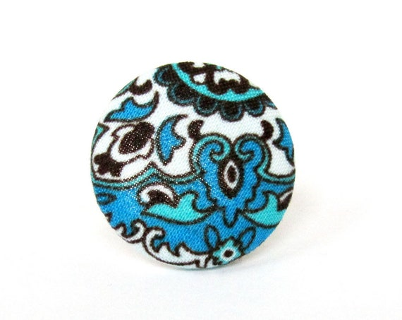 Bridesmaid gift - Large blue ring - fabric button ring - turquoise white black swirls bright - big adjustable ring - statement jewelry