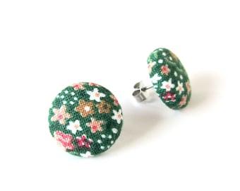 Dark green fabric earrings - floral button earrings - tiny stud earrings - flower vintage look - lightweight earrings - gift for mom