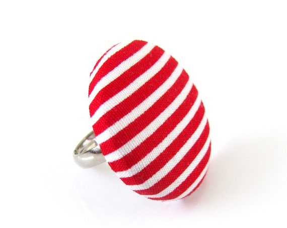 Large striped ring - red white stripes - big button ring - fabric covered ring - statement jewelry - adjustable ring - gift ideas for women