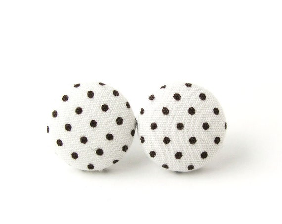 White polka dot earrings - pinup fabric earrings - cute button earrings - simple stud earrings - vintage inspired gift - retro jewelry