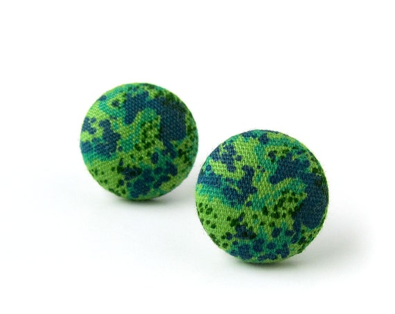 Dainty green blue stud earrings - tiny fabric button earrings - small lightweight earring - jewelry for her - bday gift