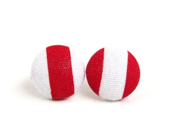 Red white earrings - red stud earrings - mismatched striped earrings - fabric covered studs - tiny button earrings - lightweight jewelry