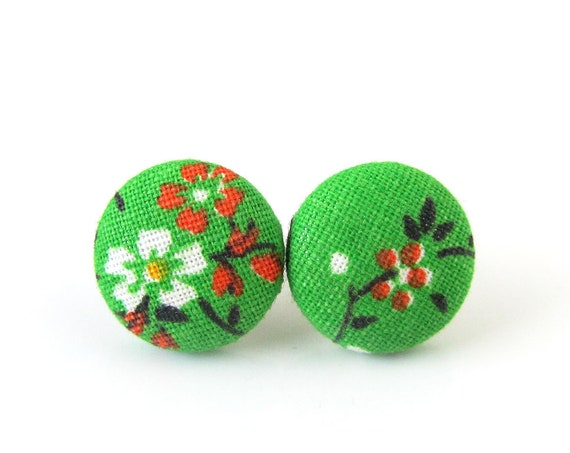 Bright green button earrings - flower jewelry - floral fabric stud earrings -  girlfriend gift sister - nickel free studs
