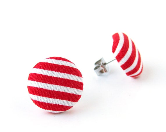 Red white stud earrings nautical - stripes button earrings - bright fabric earrings - jewelry for her - nickel free hypoallergenic studs