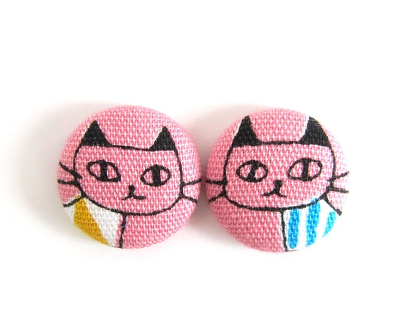 Cat lover gift - crazy cat lady - cat earrings - kitten jewelry - kawaii studs - girl earrings - children studs kids - cute pink blue yellow