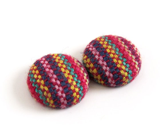 Tiny ethnic stud earrings - striped fabric button earrings - bohemian tribal jewelry - boho style, purple red green yellow