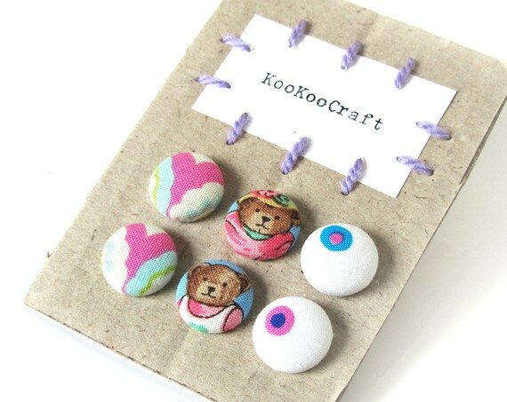 SALE Set of 3 - tiny button earrings - fabric covered earrings - bright pink purple blue stud earrings - teddy bear jewelry - kids studs
