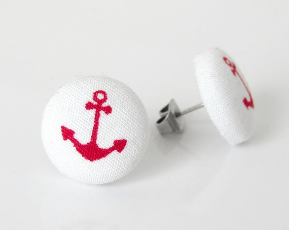 Red anchor earrings - nautical earrings - marine earrings - beach earrings - summer studs - sea studs - red button earrings - ship sea ocean