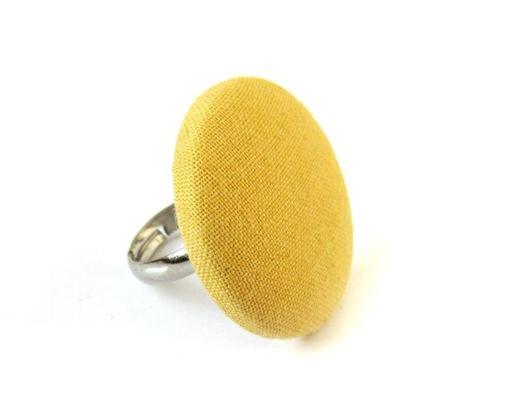 Large yellow ring - big button ring - fabric covered ring adjustable - statement jewelry - gift ideas for women - fall jewelry - autumn ring