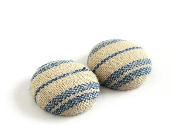 Small bright earrings - blue stripes - blue fabric earrings - blue stud earrings - tiny button earrings - marine jewelry - girlfriend gift
