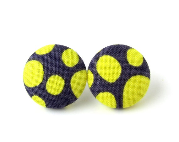 Funky stud earrings - big button earrings - large fabric earrings - oversized studs - statement jewelry, dark purple yellow spots dots