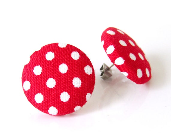Large polka dot stud earrings - vintage inspired pin up jewelry - big retro rockabilly studs - red oversized button earrings