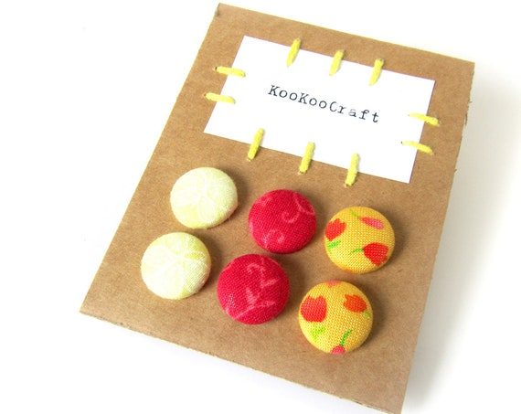 SALE Set of 3 tiny stud earrings - fabric button earrings - yellow red flower butterfly - girl jewelry - birthday gift for her