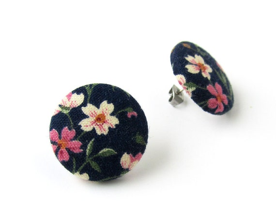 Vintage inspired jewelry - large floral earrings - statement jewelry - oversized stud earring - retro button earrings - big fabric earrings