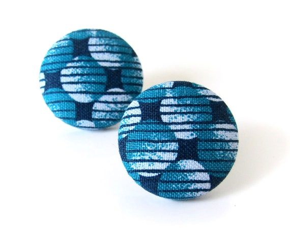 Large turquoise blue stud earrings - statement jewelry - big fabric button stud earrings - nickel free earrings