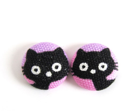 Cat lover gift - cute pink black purple girls earrings - kawaii cat earrings - kitten jewelry