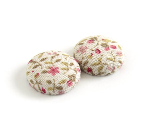 Birthday gift ideas for her - vintage style jewelry - romantic stud earrings - pastel pink button earrings - fabric studs hypoallergenic -
