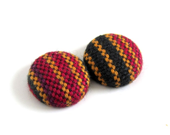 Ethnic stud earrings - striped tribal jewelry - bohemian jewelry - tiny boho earrings - indian fabric button earrings - mismatched studs