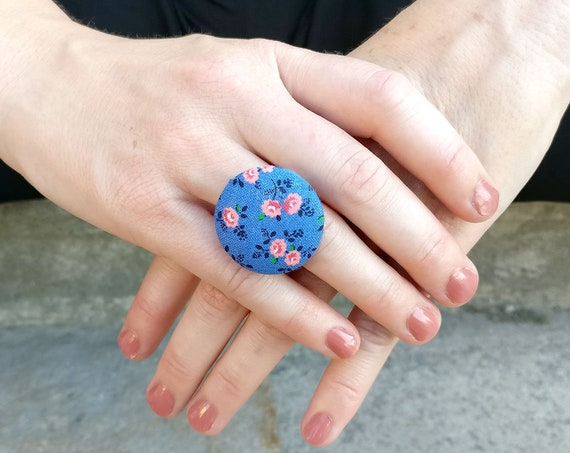 Statement jewelry - large blue pink ring - big vintage style button ring - rose flower fabric ring - bright floral ring - adjustable ring