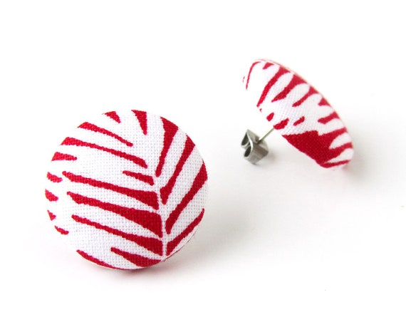 Large red earrings - big stud earrings - oversized button earrings - leaf fabric earrings - fern jewelry - gift for her - statement jewelry