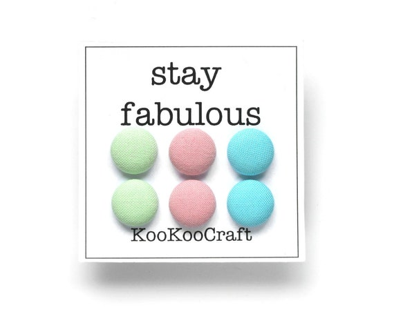 Set of tiny stud earrings - pastel fabric button earrings - mint green, blue, pink earrings - simple jewelry - sister, girlfriend, wife gift