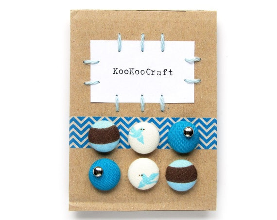Set of 3 earrings - girlfriend gift - gift for wife - blue white button earrings - retro fabric studs - bright stud earrings - bird jewelry
