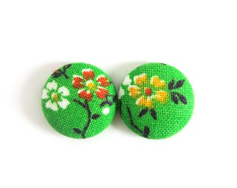 Green button earrings - flower jewelry - bright green fabric earrings - floral stud earrings - girlfriend gift sister - yellow orange white