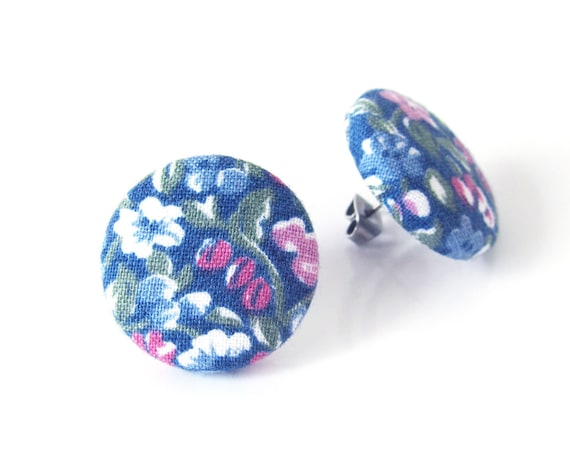 Gift for her - vintage style fabric earrings - large button earrings - big stud earrings - blue flower jewelry - nickel free floral studs