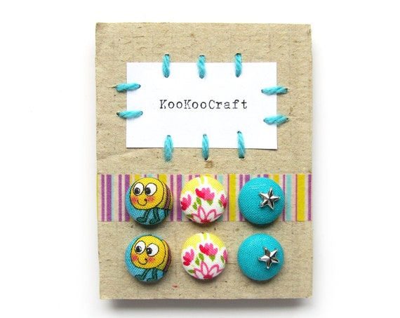 Set of stud earrings - kids children girl christmas gift  - blue yellow pink fabric button earrings - cute tiny jewelry