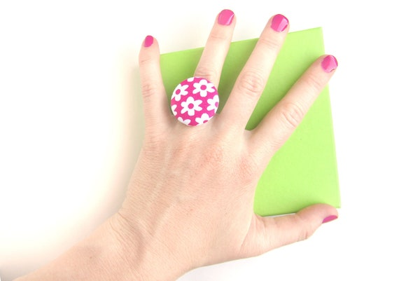 Large pink ring - bridesmaid gift - big button ring - flower fabric ring - adjustable floral ring - magenta jewelry - bright gift for women