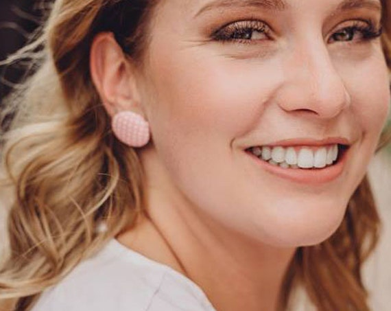Pastel pink polka dot earrings - pin up fabric button earrings - rockabilly stud earrings - 1950s retro jewelry - vintage look