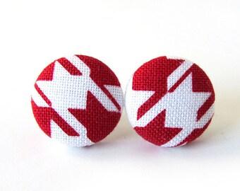 Tiny red white earrings - red stud earrings - geometric earrings - red fabric earrings - red button earrings - small earrings - nickel free