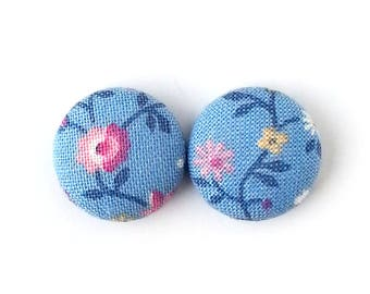 Gift for her - Vintage style fabric earrings - pastel button earrings - floral stud earrings - flower blue pink green - gift for mom, sister