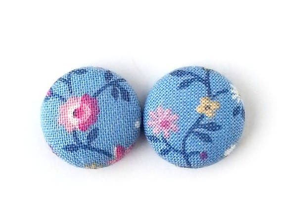 Gift for her - Vintage style fabric earrings - pastel blue button earrings - floral stud earrings - pink flower  - gift for mom sister wife