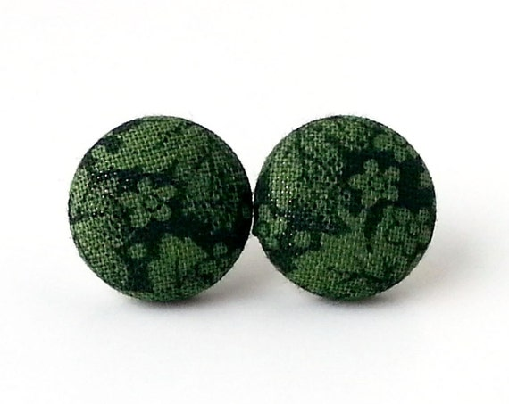 Tiny dark green fabric button stud earrings - black flower studs - floral jewelry - evening jewelry - dark evening earrings
