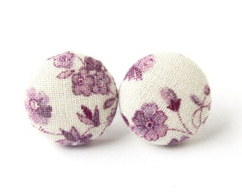 Small purple stud earrings - violet button earrings - tiny fabric covered white floral vintage - gift for her - gift for mom, sister, wife