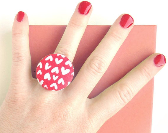Large red white heart ring - big fabric button ring - anniversary and wedding gift - birthday gift for women