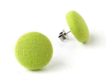 Gift for her - olive green earrings - solid green button earrings - green fabric earrings - small stud earrings - spring jewelry - for women
