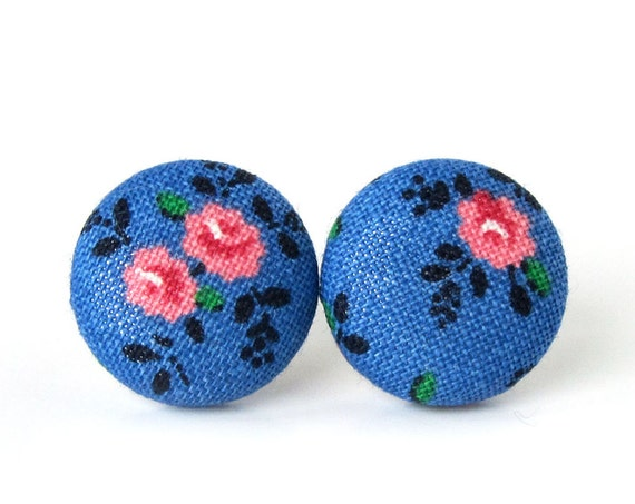 Rose studs - vintage style button earrings - blue fabric earrings -  tiny floral stud earrings - romantic boho earrings - floral jewelry