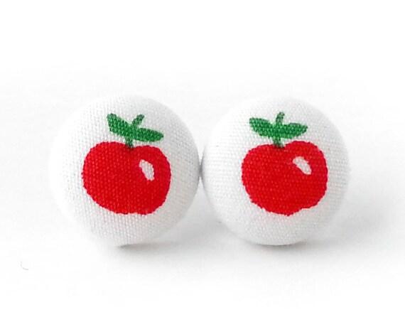 Apple button earrings - fruit stud earrings - red fabric earrings - foodie gift - kawaii jewelry - cute tiny studs - funky fall earrings
