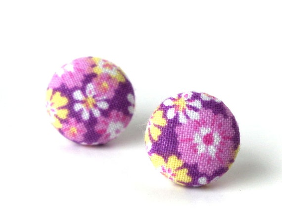 Orchid purple stud earrings - floral fabric earrings - flower button earrings - earrings for women - jewelry for her - bright lilac earrings