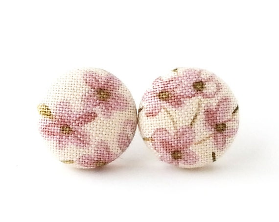 Gift for her - floral button earrings - vintage style fabric earrings - tiny white pink purple stud earrings - bff, sister, mother gift