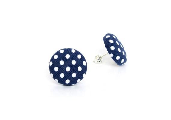 Navy blue fabric earrings - polka dot earrings - dark blue button earrings - marine blue stud earrings - white royal blue jewelry - gift