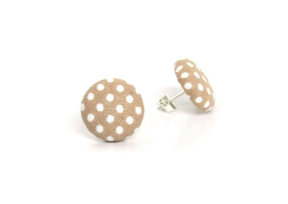 Beige polka dot earrings - light brown fabric earrings - cute button earrings - simple stud earrings - gift for her - bridesmaid gift