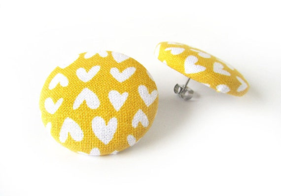 Big stud earrings mustard yellow - large fabric button earrings - hearts statement earrings - bright funky studs - birthday gift for her