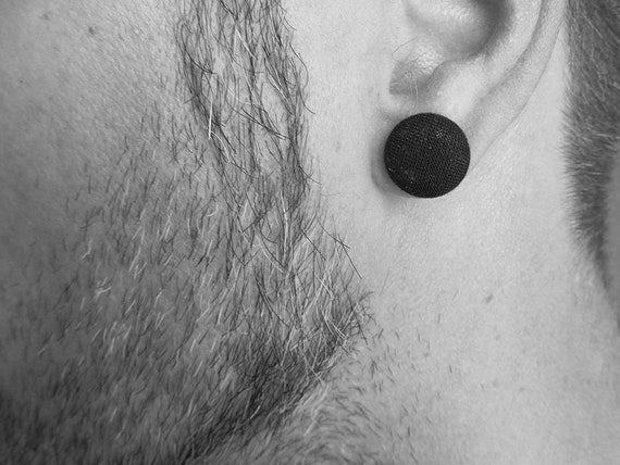 Men earrings - black earrings studs - matte black earrings - solid black button earrings - simple studs - dark men jewelry - gift for him